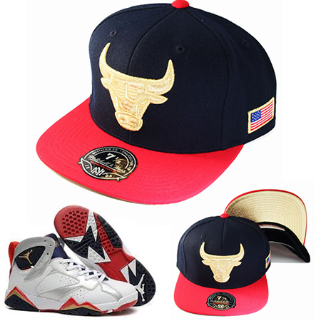 Details about Mitchell   Ness Chicago Bulls Fitted Hat Nike Air Jordan 7  Retro Gold Navy Red e669e46716b