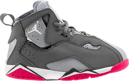 images détaillées dcef5 05512 Détails sur Nike Air Jordan Vrai Flight Enfant Garçons Gris Cool Vif  Chaussure Rose