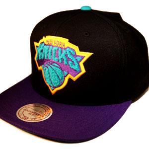 NEWYORK KNICKS mitchell   ness NBA aqua blue   purple snapback Hat ... 55f6e096d77