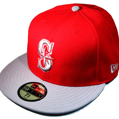 0ef5a173d7b SEATTLE MARINERS 59Fifty NEWERA MLB Fitted Hat with custom ( red ...