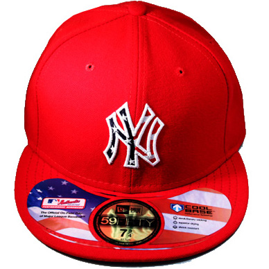 da3fc1fde6f NEWYORK YANKEES New Era 59Fifty red Fitted Hat with US flag front logo  (fourth of july   STAR   STRIPE) – booton