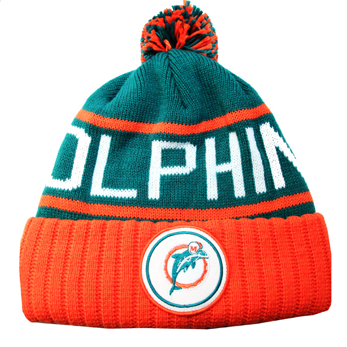 8e7139cf1f7 MIAMI DOLPHINS Mitchell   Ness classic NFL team color CUFFED POM ...