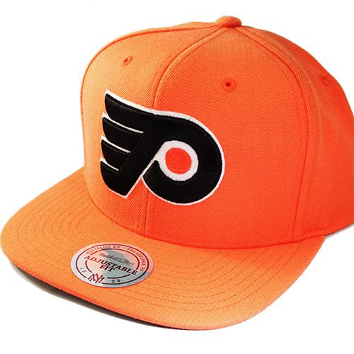 6caa10cf0e4 Mitchell   Ness NHL Philadelphia Flyers Classic Orange Snapback Hat ...