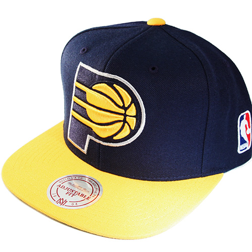 pretty nice df8af a0685 Mitchell & Ness NBA Indiana Pacers Snapback Hat XLarge Front Logo Cap