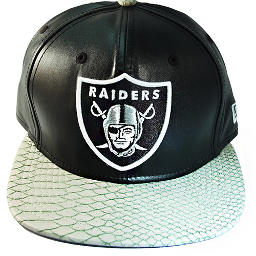 Rare New Era Oakland Raiders Faux Leather Strapback Hat Snake Skin Animal  Cap 53d39e36500