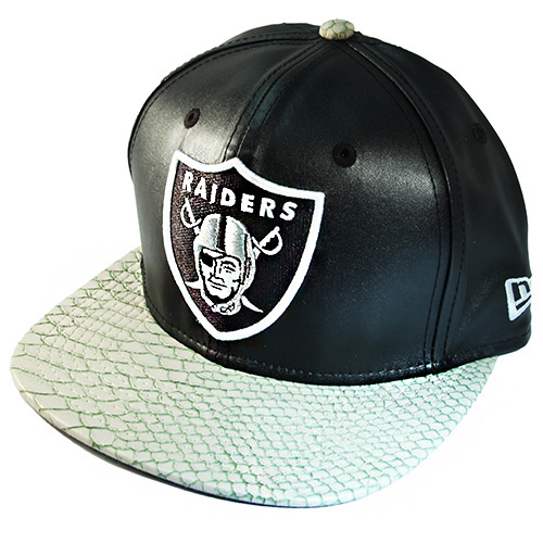 0c4da12314a Rare New Era Oakland Raiders Faux Leather Strapback Hat Snake Skin ...