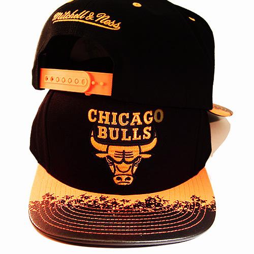 555c178351bd5a Mitchell & Ness NBA Chicago Bulls Black Snapback Hat Neon Orange ...