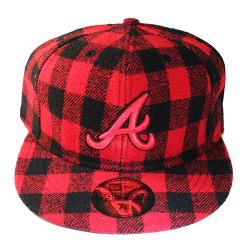 New Era Atlanta Braves 5950 Classic Fitted Hat Red Black Plaid ... 6c56a4177ae