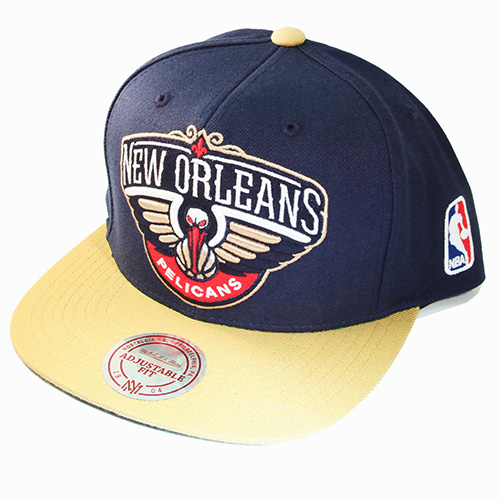 quality design 42c4f 1e75e Mitchell   Ness NBA New Orleans Pelicans Snapback Hat 2 Tone X-Large ...