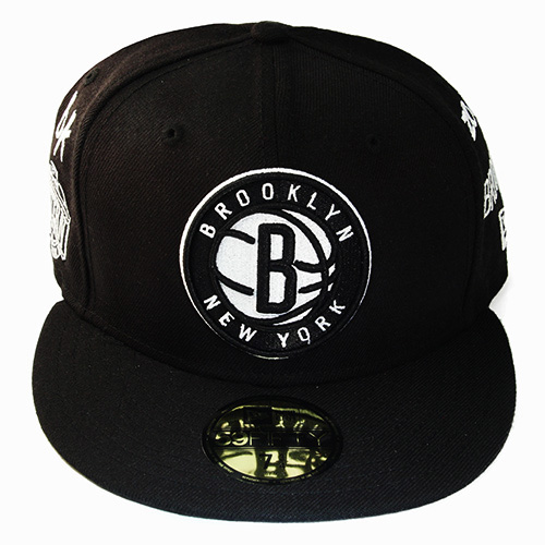 08cc4677a81 New Era NBA Brooklyn Nets 5950 Black Fitted Hat Team Archive Logo ...