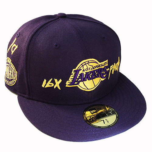 size 40 b1106 28a26 New Era NBA L.A Lakers 5950 Purple Fitted Hat Team Archive Logo all ...