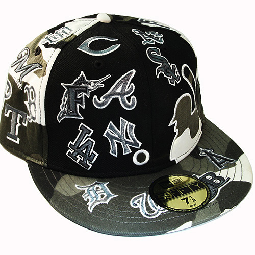 New Era MLB All Over Team Logo 5950 Grey Camouflage Fitted Hat ... 32322ea525a