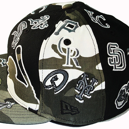 5fa0400d542 New Era MLB All Over Team Logo 5950 Grey Camouflage Fitted Hat ...