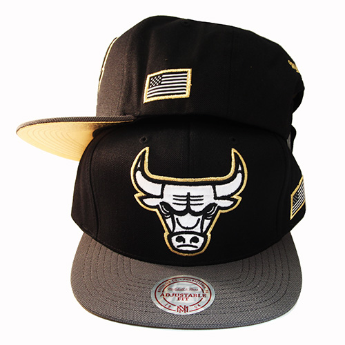 dc4882660cc Mitchell   Ness NBA Chicago Bulls Snapback Hat Black Grey Metallic ...