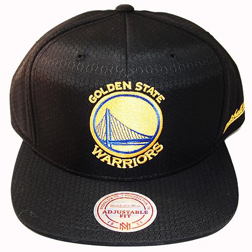 quality design ad38e e30d2 Mitchell   Ness Golden State Warriors Snapback Hat Black Honeycomb ...
