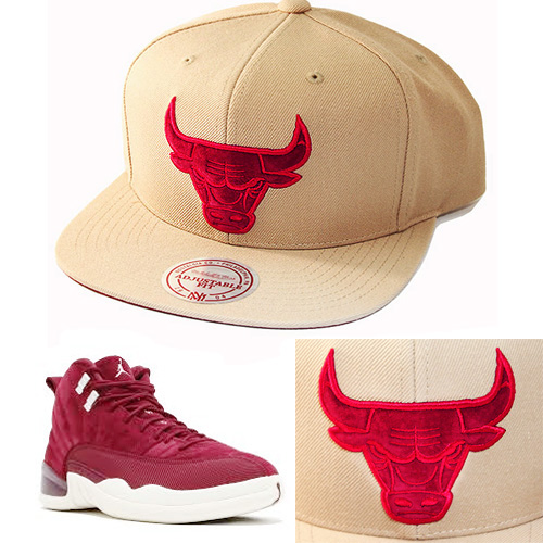 2a9e445c533 Mitchell   Ness Chicago Bulls Snapback Hat Match Air Jordan 12 Retro ...