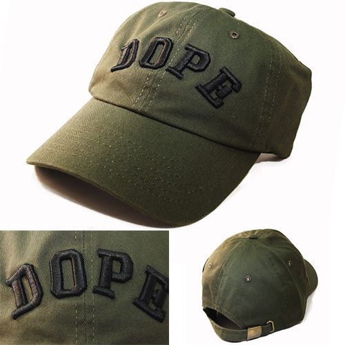 Dope Front Embroidered Dad Hat Vintage Olive Green Custom Daddy Cap