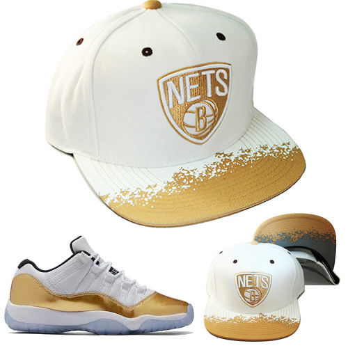 huge discount 4c0d7 a1714 Mitchell & Ness Brooklyn Nets Snapback Hat Air Jordan Retro 11 Low White  Gold