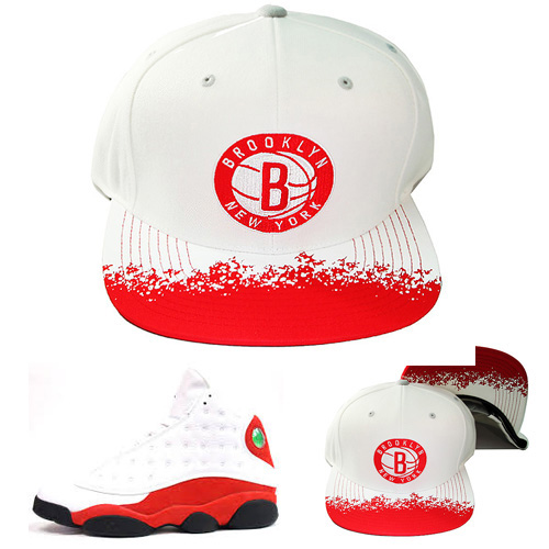 pretty nice 9e752 a55ed Mitchell   Ness Brooklyn Nets Snapback Hat Air Jordan Retro 13 White Red Cap  – booton