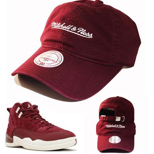 46cdf606eaf Mitchell & Ness Brand Maroon Dad Strapback Hat Match Air Jordan 12 Bordeaux  Cap – booton