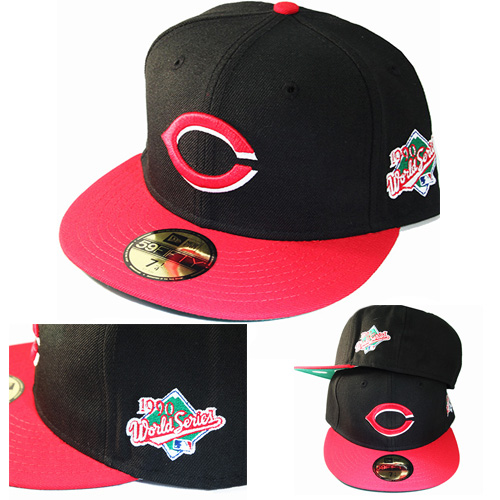 New Era MLB Cincinnati Reds 5950 Fitted Hat 1990 World Series Side ... 56effb1fde6