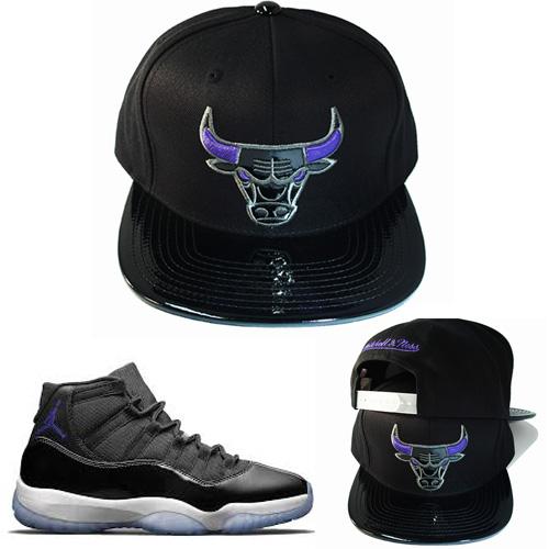73947dd2374 Mitchell   Ness Chicago Bulls Snapback Hat Black Purple Air Jordan ...