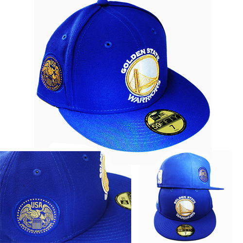 detailed look ca835 3803d New Era NBA Golden state Warriors 5950 Blue Fitted Hat USA Gold Side ...
